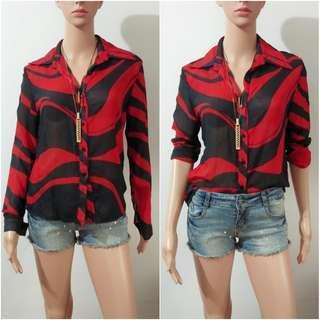(XS-S) Korean black and red sheer top