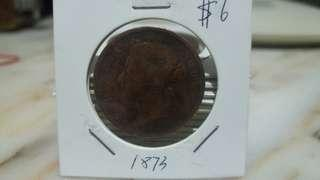 1873 Queen Victoria Straits Settlement one cent