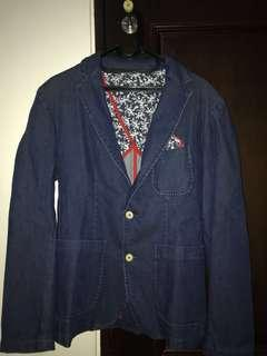 Zara man blazer jas casual blue denim SIZE SMALL