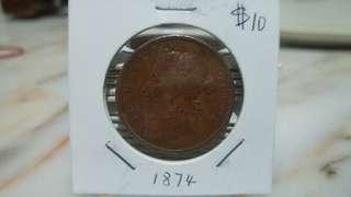 1874 Queen Victoria Straits Settlement one cent