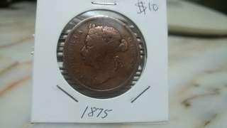 1875 Queen Victoria Straits Settlement one cent