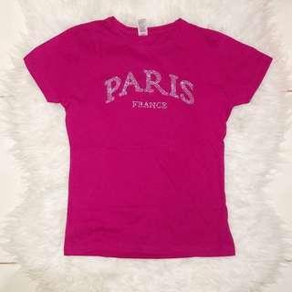 SOLS EUROPE MISS Paris France Rhinestone Bling Close Fit Tee Shirt (Fuchsia)