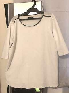 White round-neck blouse