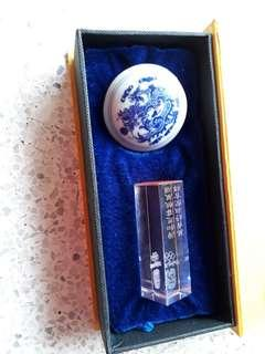2008 bejing olympics glass stamp with wax