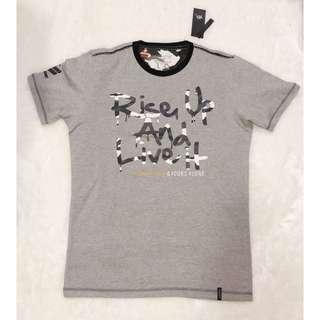 X8 X-EIGHT Rise Up And Live It Loose Fit Tee Shirt (Grey)