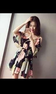 Flowery Korean dress