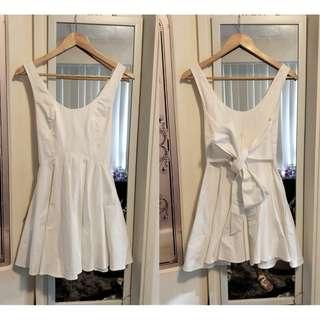 KEEPSAKE Skater Dress White Tie Up Back Fit And Flare Open Back Scoop Neck Cue