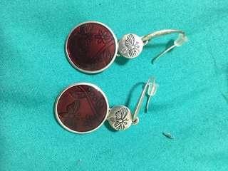Plum purple burgundy dangly earrings