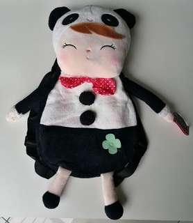 Soft Backpack Bag with Plush Toy Girl in Panda Costume