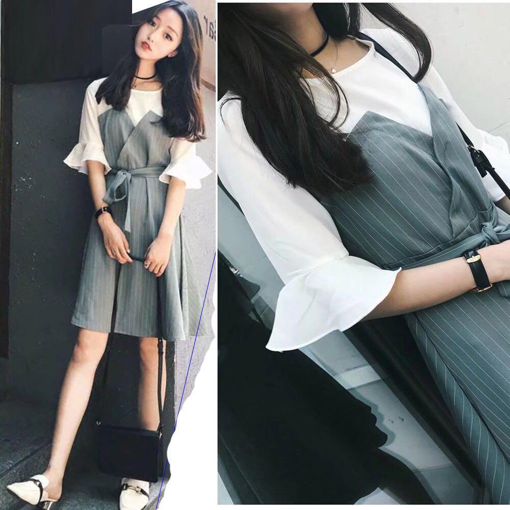 435a0f3e38b 1-piece Dress Short half bell Sleeve V-Neck Casual formal dress ...