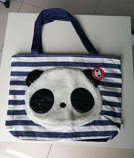 Panda Face Canvas Shoulder Carry Bag
