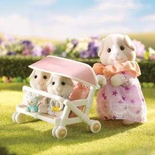 BNIB Sylvanian Families Calico Critters Patty And Paden's Double Stroller Set