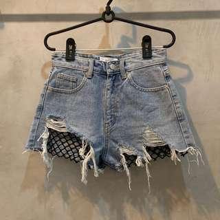 netted acid wash high waist shorts
