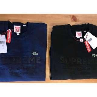 2018年 Supreme x  Lacoste圓領衛衣 黑色S號 全新正品 美國直送