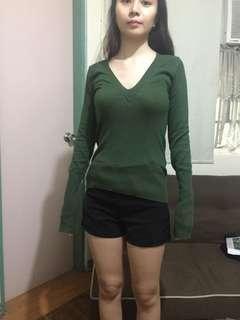 Green knit shirt small