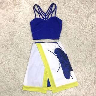 Blue Sexy Crop Top & Plains & Prints Skirt SET