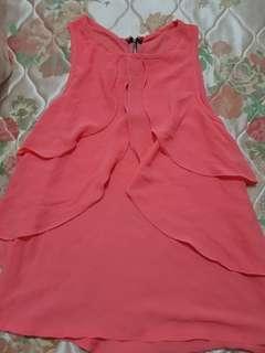 Coral Pink chiffon Top- S