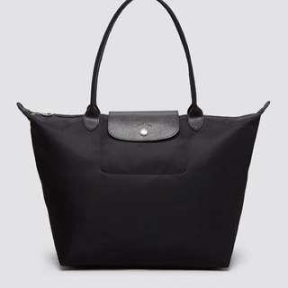 Longchamp Planetes Medium Long Handle Black