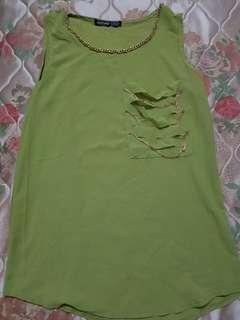 Lime chifgon blouse - M