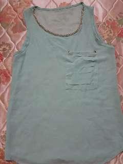 Mint chiffon blouse - M
