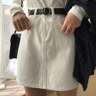 🚚 ulzzang basic white highwaist skirt
