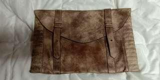 RUSTIC GOLD BROWN LEATHER CLUTCH