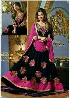 Gamis India Vinata Maxi Black Pink