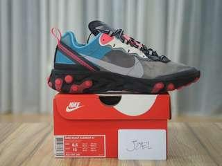 8.5US - 10.5US Nike React Element Chill Blue/Solar Red