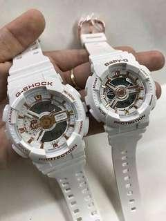 COUPLE WHITE ROSEGOLD GSHOCK WATCH