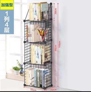 (加強型一列四層)DIY組合桌面整理小書架置物鐵網網格層架多層可拆裝宿舍置物架小空間