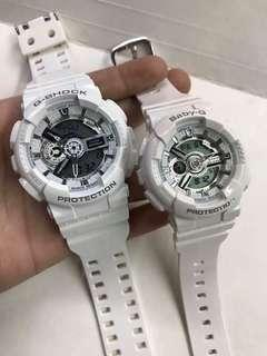COUPLE ALL WHITE GSHOCK WATCH