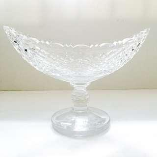 Vintage Heavy Cut Crystal Centrepiece Leaf Dish Bowl Platter With Stem