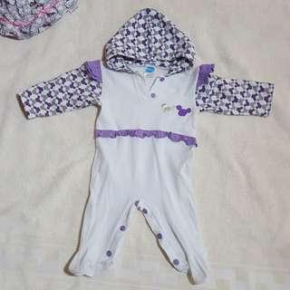 Baby Girl: White onesie with purple ruffles and mickey mouse design