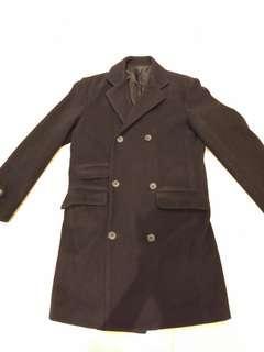 🚚 男 Stefanel 經典黑色羊毛大衣