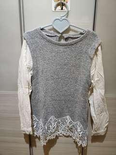 🚚 正韓-布蕾絲毛線上衣
