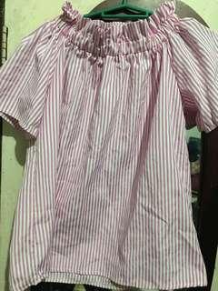 Pink/White Stripes Off-Shoulder