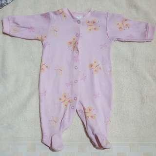 Baby Girl: Pink Onesie with Yellow Butterfly prints