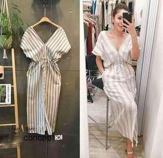 😊V neck midi stripe  dress