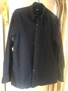 Uniqlo dark navy cotton shirt men's 男裝深藍全棉恤衫