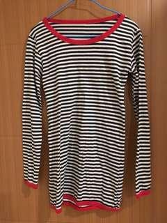 🚚 近全新 rainbow shop 日式黑白條紋衫 紅色領