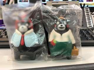 OK便利店 日本熊本熊掛飾,兩款為一對限量版,四吋高,軟膠製作,輕巧有彈力