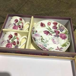 Small Teacups with Matching Saucers Purple Flowers from Rustans