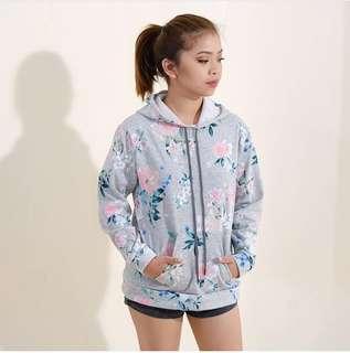 Grey Floral Hoodie Jacket