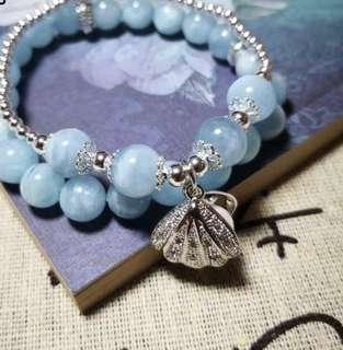 只此一條,不再返貨❗️海藍寶純銀貝殼珍珠手串🐚