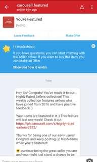 Thank you Carousell for choosing us for Highly Rated Seller Collection!