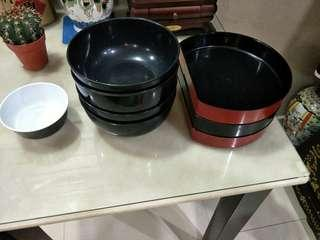 Plastic bowls and plates