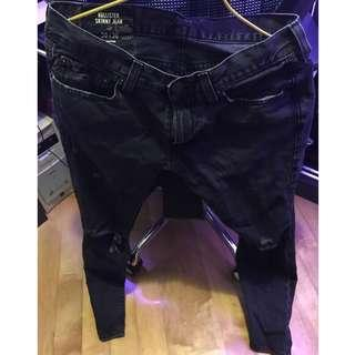 Hollister Men black ripped jeans 牛仔褲