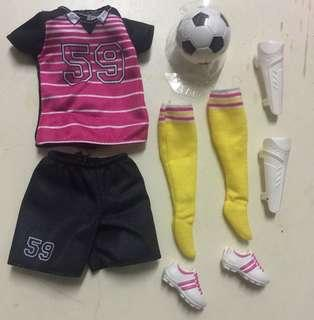 MTM Barbie soccer player outfit and accessories
