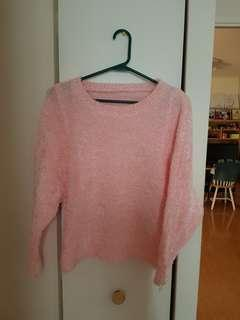Chenille Pink Crop Sweater