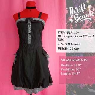 Black Apron Dress With Pouf Skirt